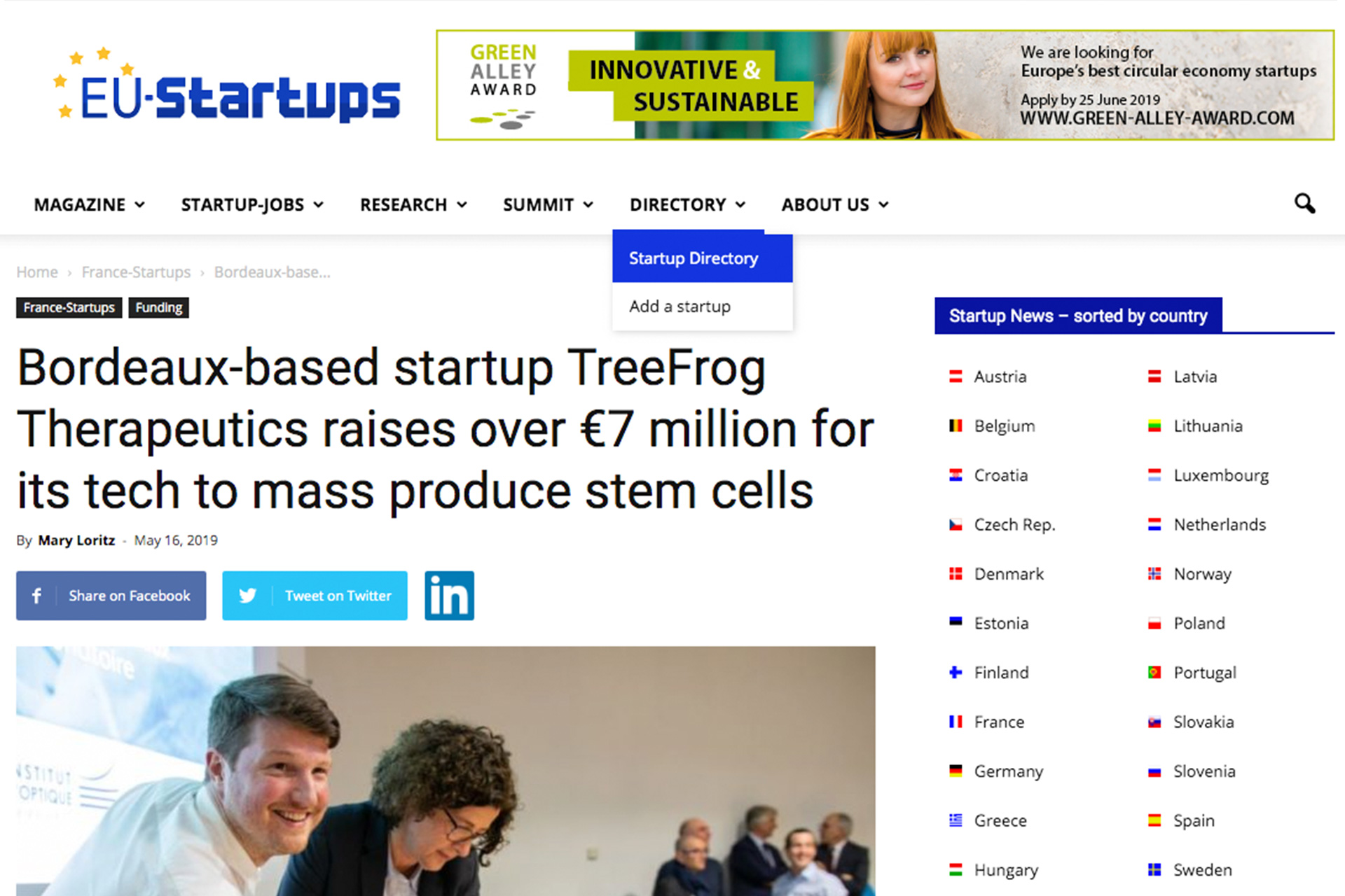 bordeaux startup TreeFrog-Therapeutics raises 7 million tech mass-produce stem cells