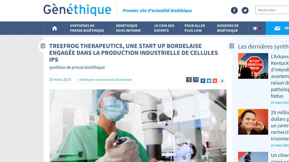 genethique-treefrog-therapeutics-article-press