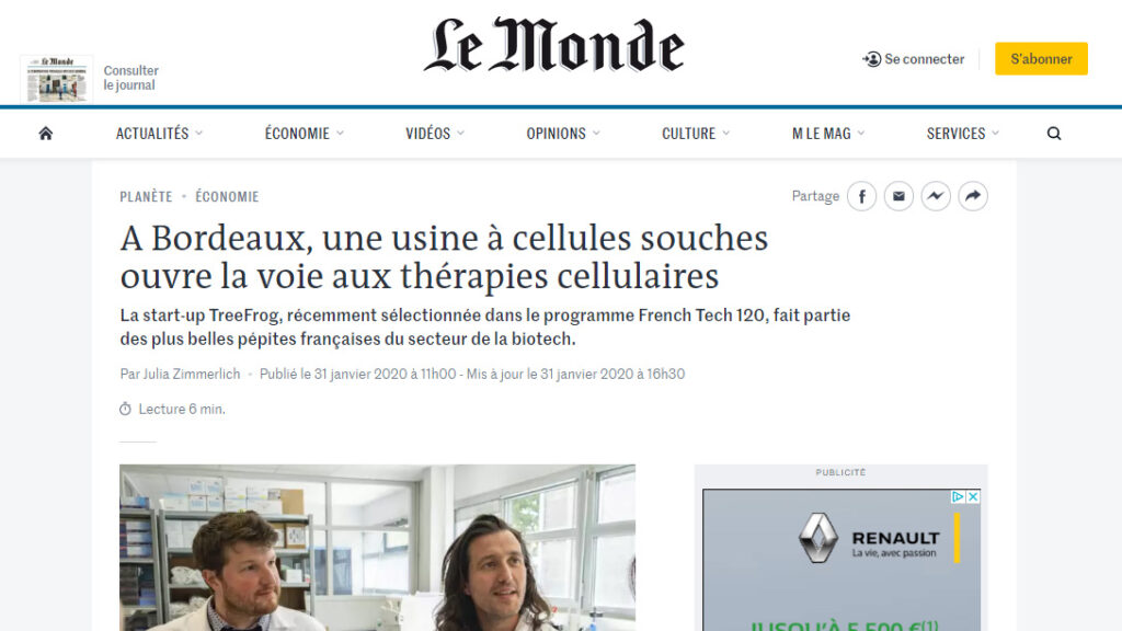 TreeFrog in Le Monde !