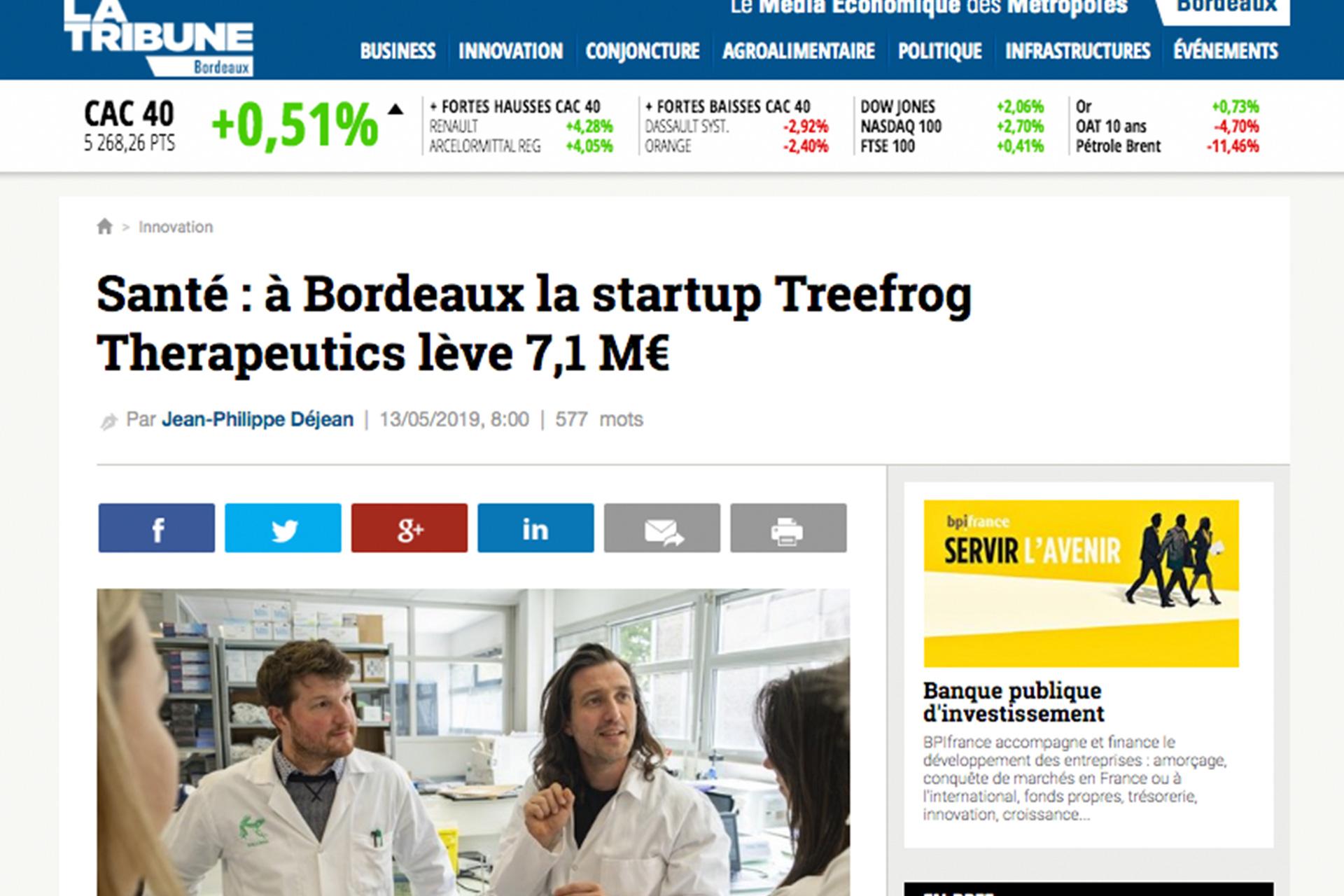 "La Tribune : ""In Bordeaux, TreeFrog Therapeutic raises 7,1 M€"""